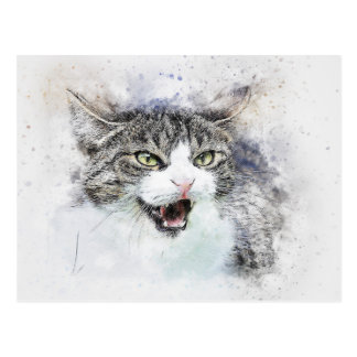 Angry Kitty | Abstract | Watercolor Postcard