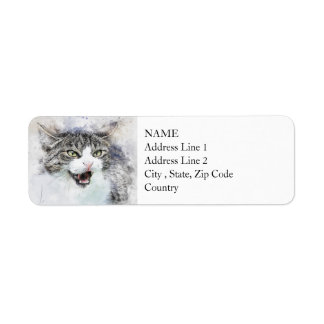 Angry Kitty | Abstract | Watercolor Return Address Label