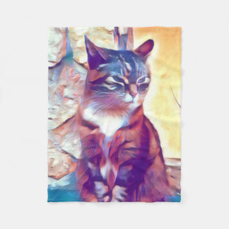 Angry kitty fleece blanket