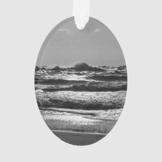 Angry Lake Michigan Grayscale Ornament