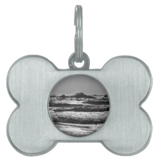 Angry Lake Michigan Grayscale Pet ID Tag
