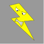 Angry Lightning. Yellow on Grey. Photo Cut Out