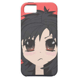 Angry Little Chibi Girl with Black Hair iPhone 5 Cases