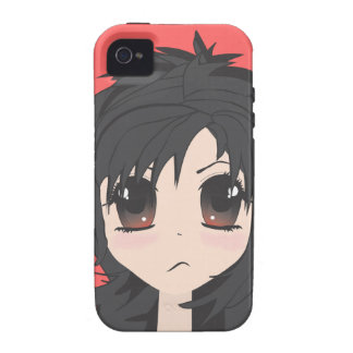 Angry Little Chibi Girl with Black Hair Case-Mate iPhone 4 Cases