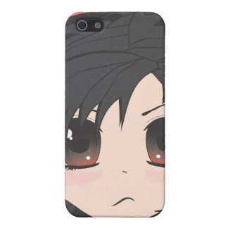Angry Little Chibi Girl with Black Hair iPhone 5/5S Cases