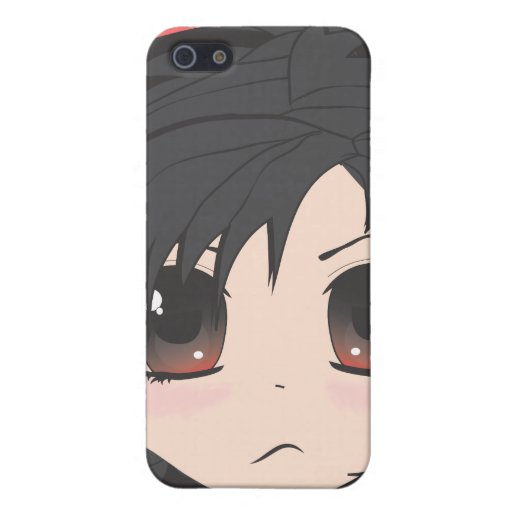 Angry Little Chibi Girl with Black Hair Covers For iPhone 5