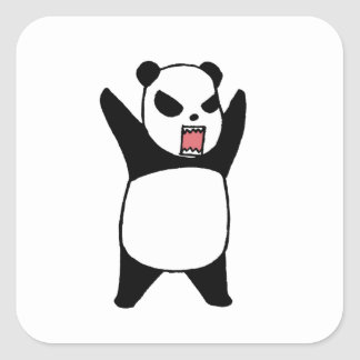 Angry Little Panda Square Sticker
