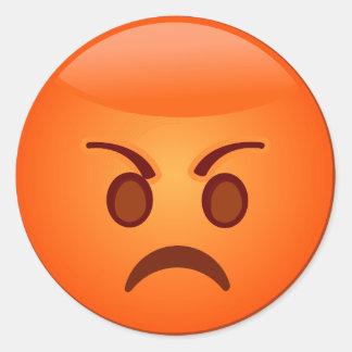 Angry/Mad Emoji Round Sticker