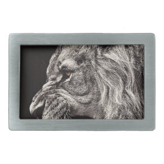 Angry Male Lion Rectangular Belt Buckles
