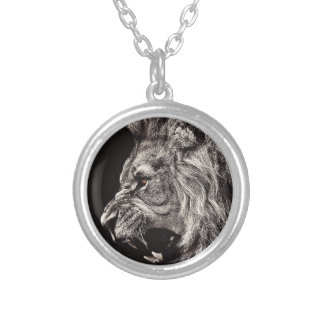 Angry Male Lion Silver Plated Necklace