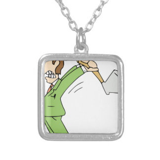 Angry Man with Axe Silver Plated Necklace