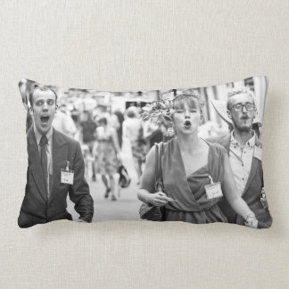 Angry mob protesting in highstreet lumbar cushion