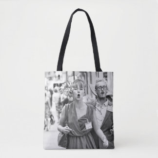Angry mob protesting in highstreet tote bag