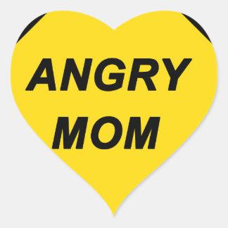"""Angry Mom"" design Heart Sticker"