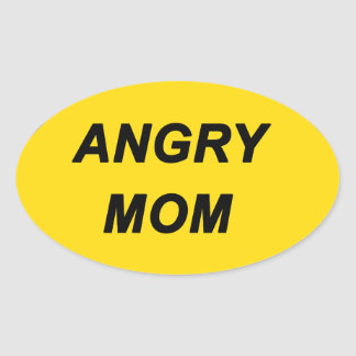 """Angry Mom"" design Oval Sticker"