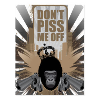Angry Monkey with Gun Postcard