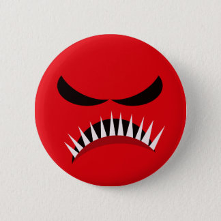 Angry Monster With Evil Eyes and Sharp Teeth Red 6 Cm Round Badge