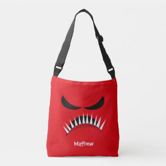 Angry Monster With Evil Eyes and Sharp Teeth Red Crossbody Bag