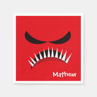 Angry Monster With Evil Eyes and Sharp Teeth Red Disposable Serviette