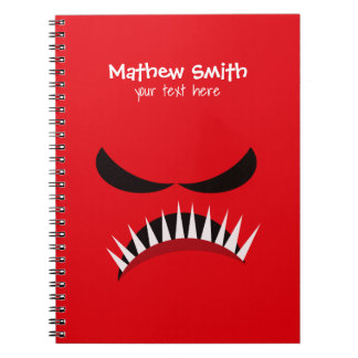 Angry Monster With Evil Eyes and Sharp Teeth Red Notebooks
