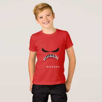 Angry Monster With Evil Eyes and Sharp Teeth Red T-Shirt
