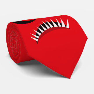 Angry Monster With Evil Eyes and Sharp Teeth Red Tie