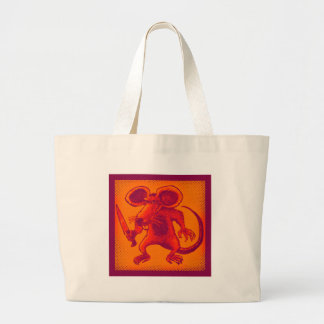 angry mouse holds knife funny cartoon large tote bag