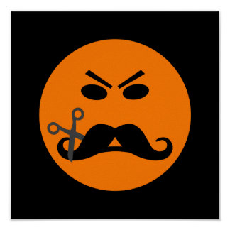 Angry Mustache Smiley poster