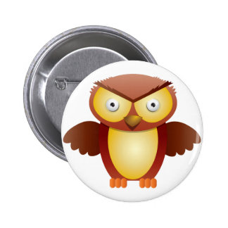 angry owl 6 cm round badge