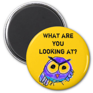 Angry Owl 6 Cm Round Magnet