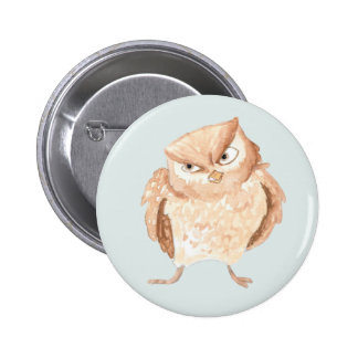Angry Owl Watercolor 6 Cm Round Badge