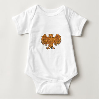 Angry Owl Wings Spread Drawing Baby Bodysuit