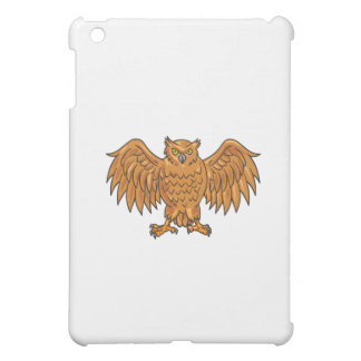 Angry Owl Wings Spread Drawing iPad Mini Cover