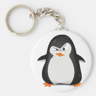 Angry Penguin Basic Round Button Key Ring