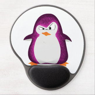 Angry Penguin Pink Glitter Photo Print Gel Mousepad