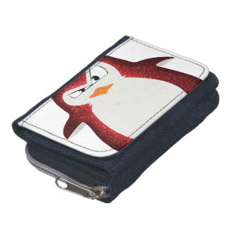Angry Penguin Red Glitter Photo Print Wallets