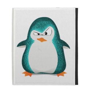 Angry Penguin Teal Glitter Photo Print iPad Folio Cover