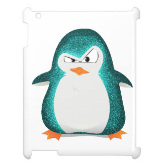 Angry Penguin Teal Glitter Photo Print iPad Covers