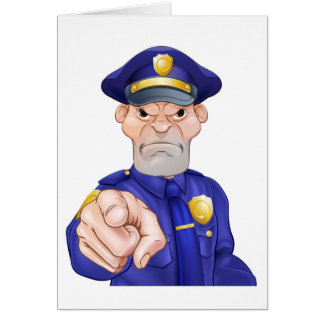 Angry Pointing Police Officer Card