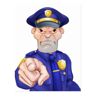 Angry Pointing Police Officer Postcard