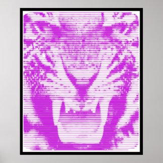 Angry Purple Tiger Horizontal Lines Poster
