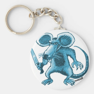 angry rat with knife blue contour basic round button key ring