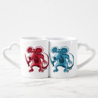 angry rat with knife coffee mug set