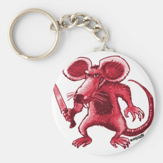 angry rat with knife red contour basic round button key ring