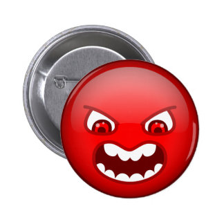 Angry red 6 cm round badge