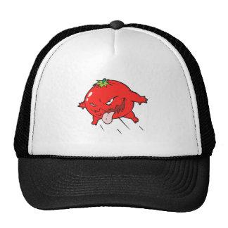 angry rotten tomato cartoon character cap