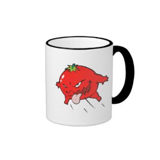 angry rotten tomato cartoon character mugs