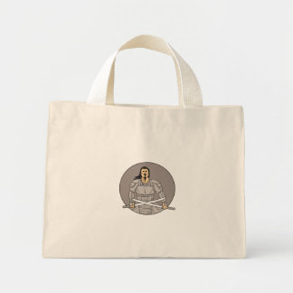 Angry Samurai Warrior Crossing Swords Oval Drawing Mini Tote Bag