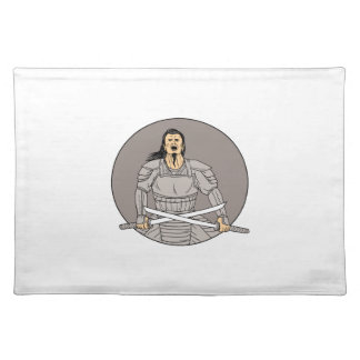 Angry Samurai Warrior Crossing Swords Oval Drawing Placemat