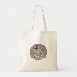 Angry Samurai Warrior Crossing Swords Oval Drawing Tote Bag